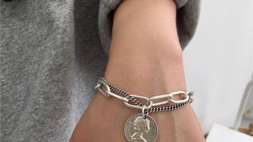 Retro Potrait Coin Link Chain Bracelet