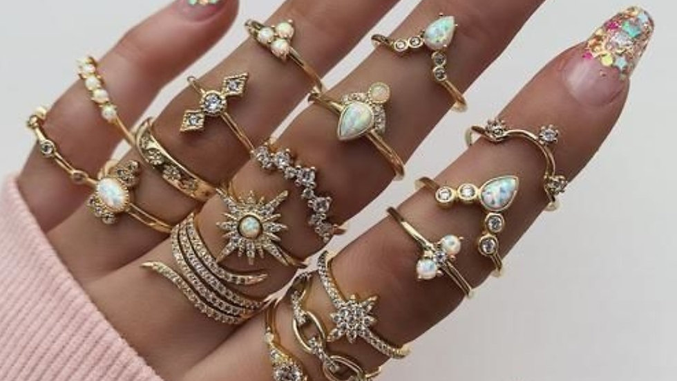 Trendy Gold Plated Ring Set - 17 pieces