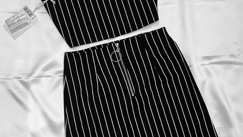 Black Striped Two Piece Co-ords Set | Size M