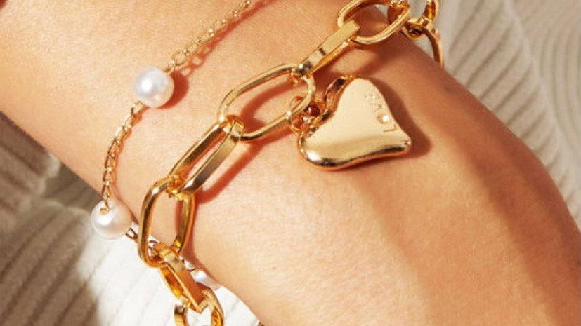 Layered Pearl Love Bracelet