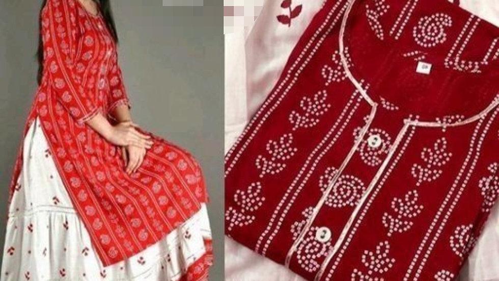 Printed Straight Kurta with Skirt