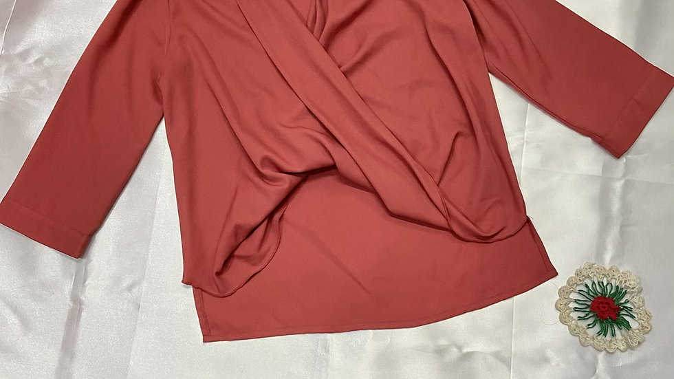 Rose Pink Front-twist Shirt | Size: S