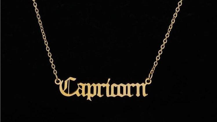Capricorn- Zodiac Letter Minimalistic Pendant Necklace