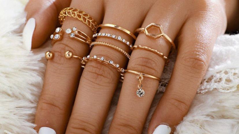 Rhinestone Open 8 Piece Ring Set | Onesize