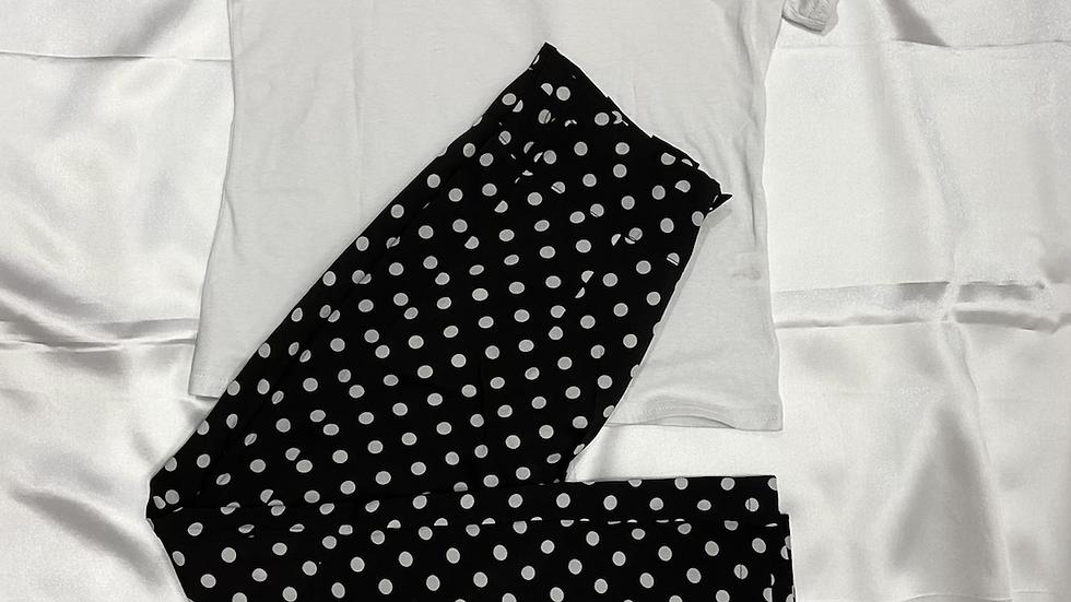 B/W Tee and Pants Set | Size M