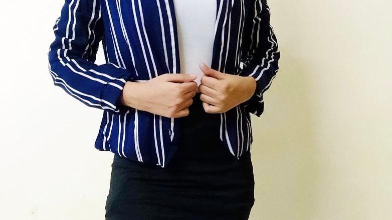 Navy Blue Striped Blazer with Tag