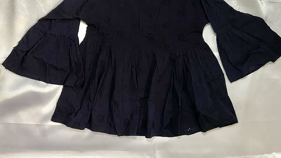 Navy Blue Black Flare Sleeve Top   Size M