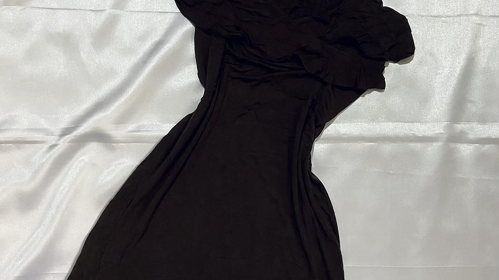 Solid A-line Spaghetti Strap V-neck Frill Ruffle Dress | Fit: S-M