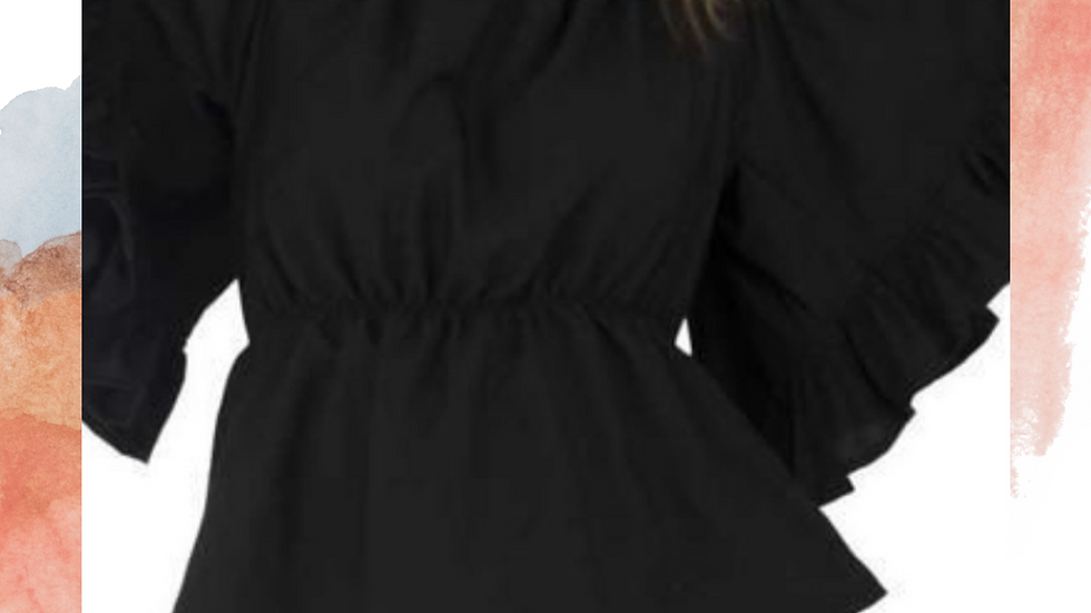 Women's Solid Black Poly Crepe Top