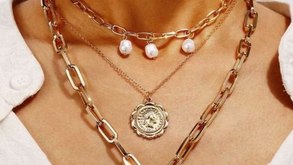 Pearls & Coin Multilayer Chain Neckpiece
