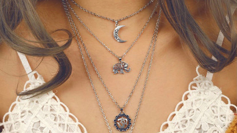 Om Crescent Moon & Sun Om Amulet Multilayered Neckpiece