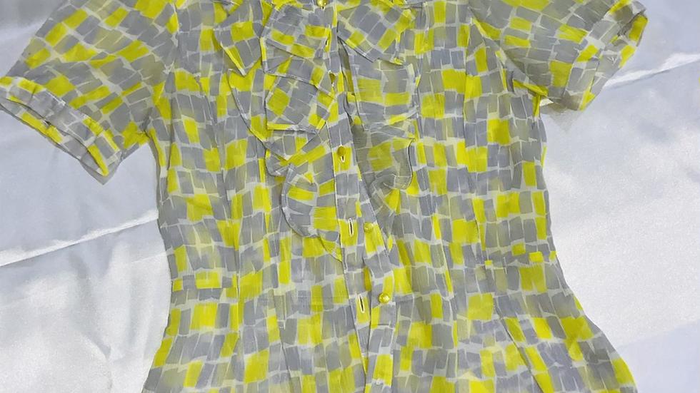 Ruffled Shirt Style Sheer Top | Size M