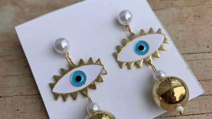 Evil Eye Dangle Globe Golden Earrings