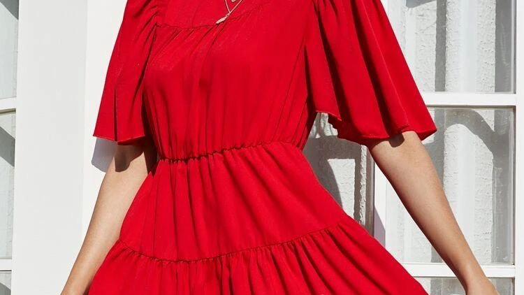 Butterfly Sleeve Solid A-line Flare Dress
