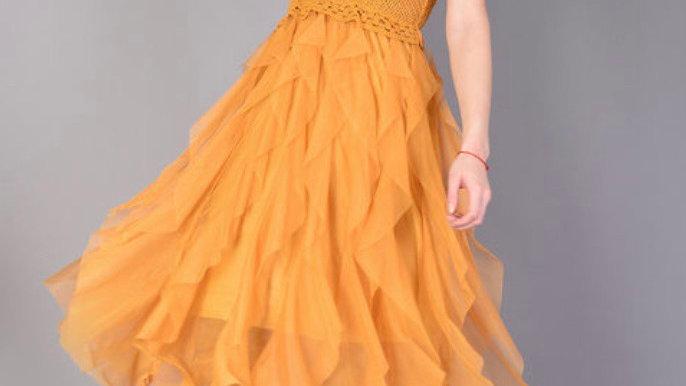 Crochet Ruffle Midi Flare Dress