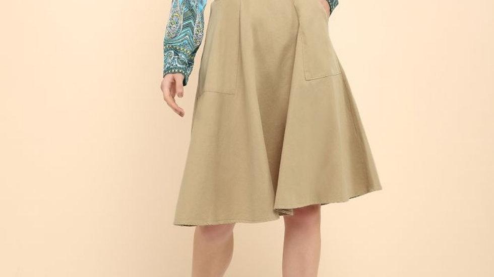 Pleats Beige Midi Skirt with Side-Pockets  | Size: M