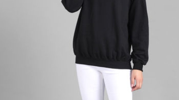 Black plain white stripe pullover