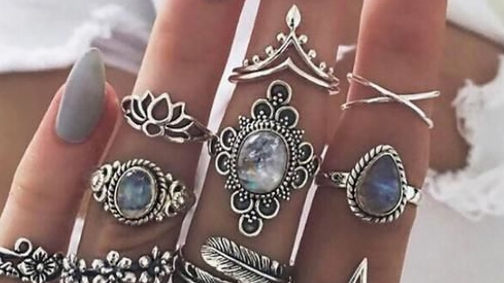 Oxidised Silver Women's  Ring Set - 11 Pieces