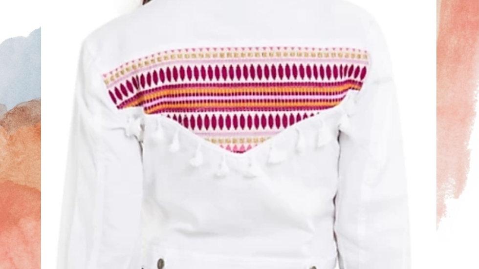 White Full sleeve solid womens jacket   Size: M