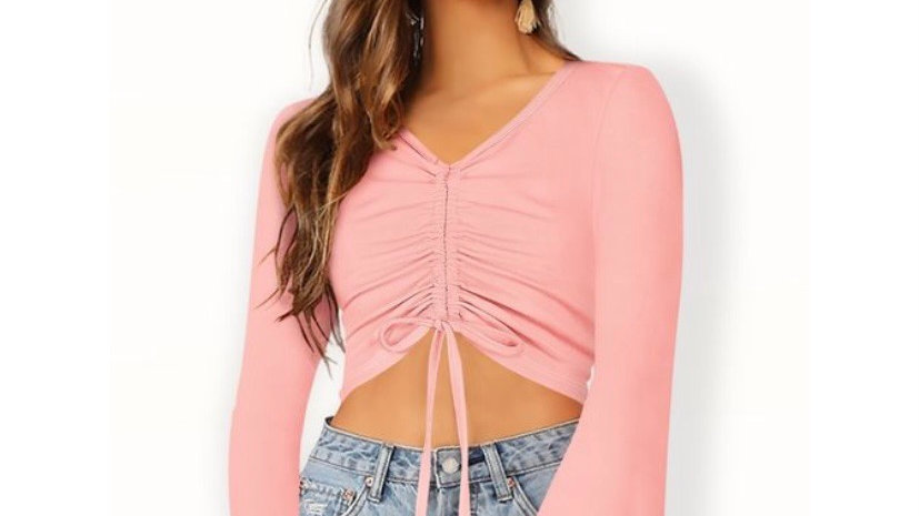 Powder Pink Ruched Drawstring Front Knot Casual Top