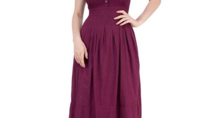 Maroon Ruched Waist Maxi Dress