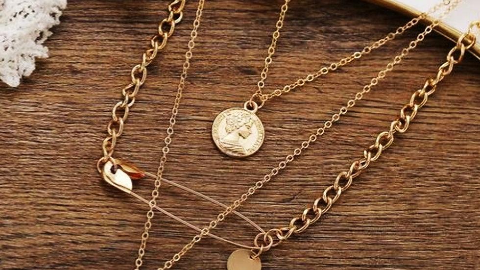 Gold Plated Multi-layered Coin Neckpiece