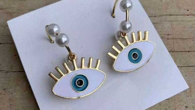Turkish Eye Dangle Golden Earrings