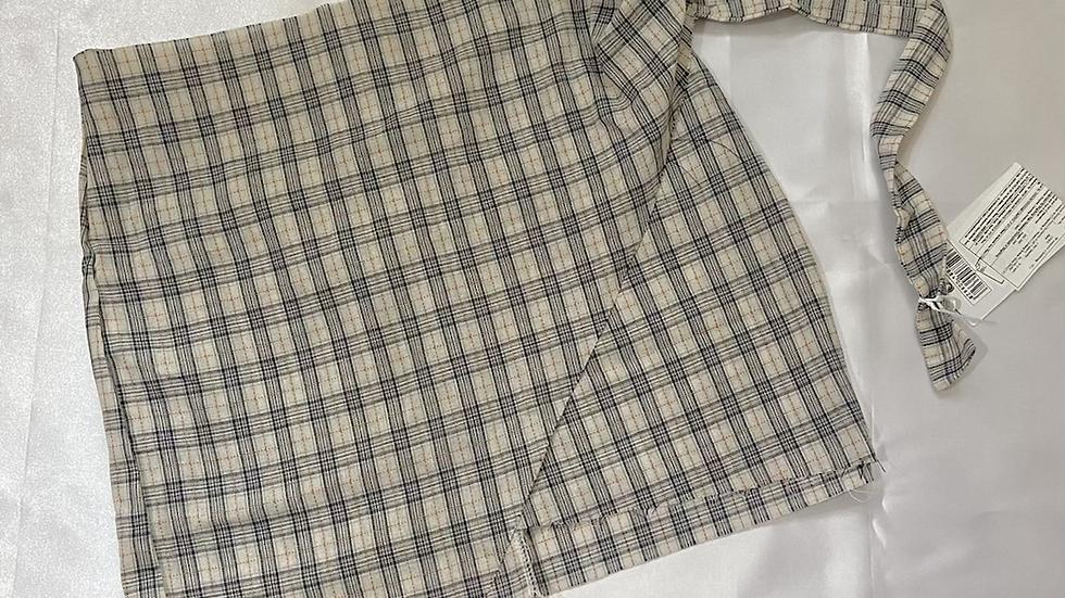 Checkered Black Mini  Wrap Skirt | Size L