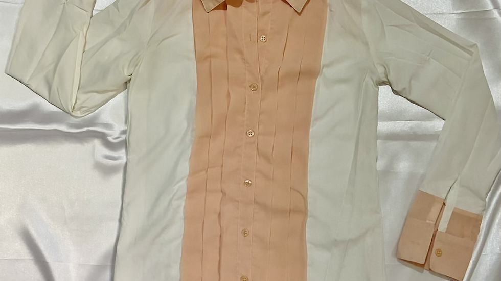 White & Peach Panelled Pleated Shirt | Size S