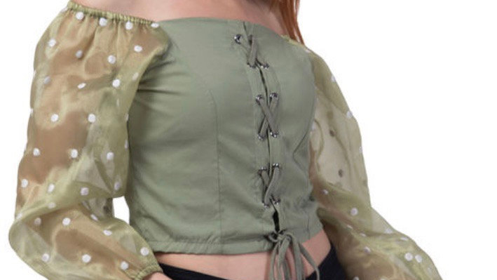 Organza Sleeve Lace-up Top