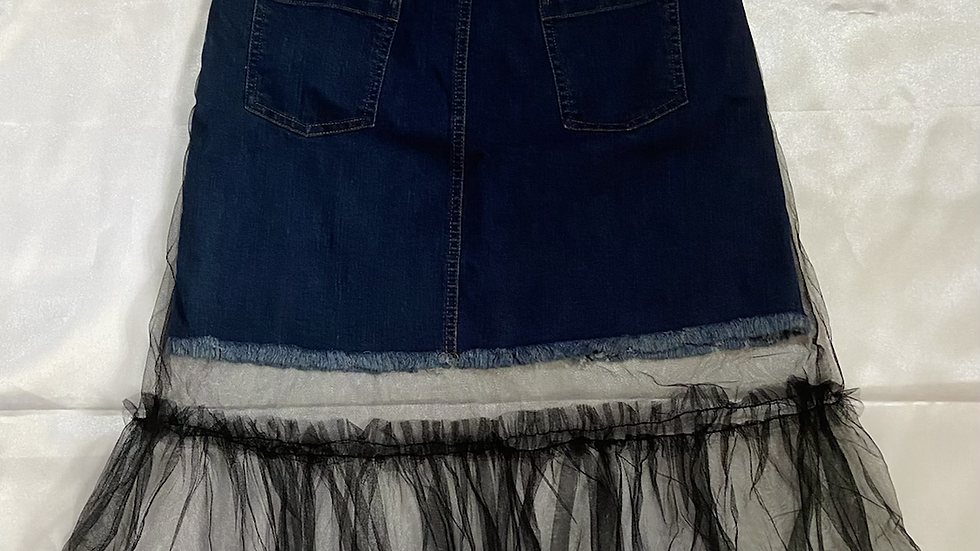Denim Mini Skirt with Mesh Overlay | Size M