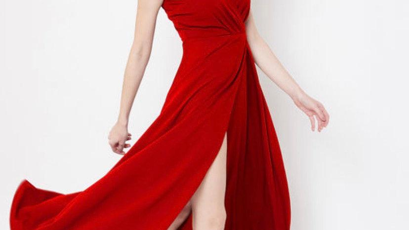 V-neck Strap Slit Long Dress