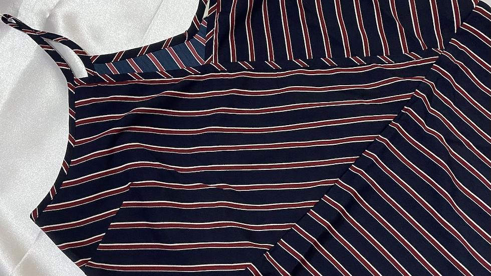 Striped Navy Maroon Maxi Dress | Size L