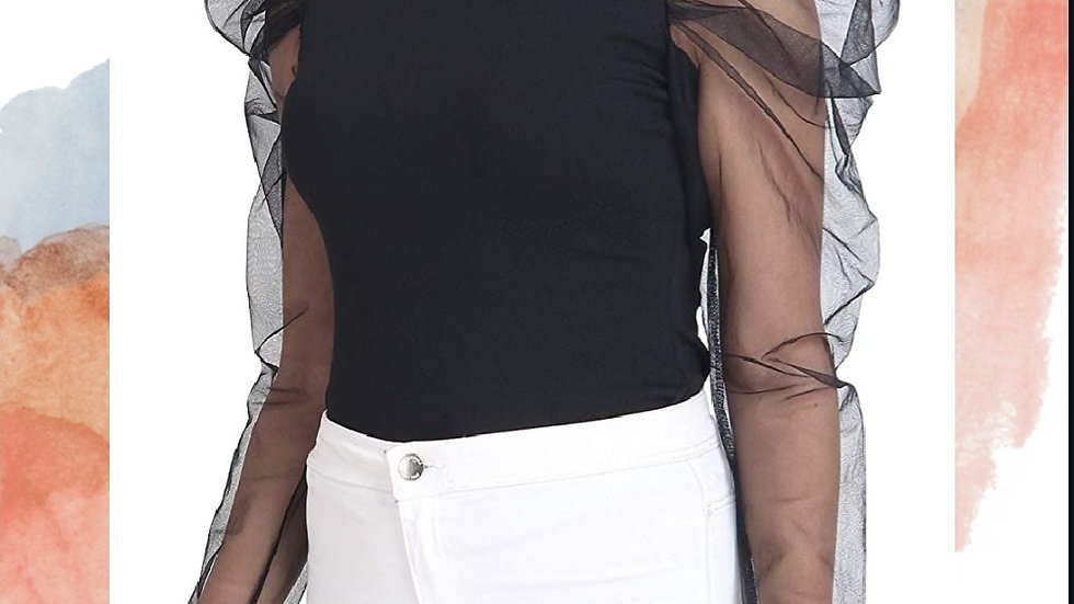 Balloon Sleeves Black Blouse