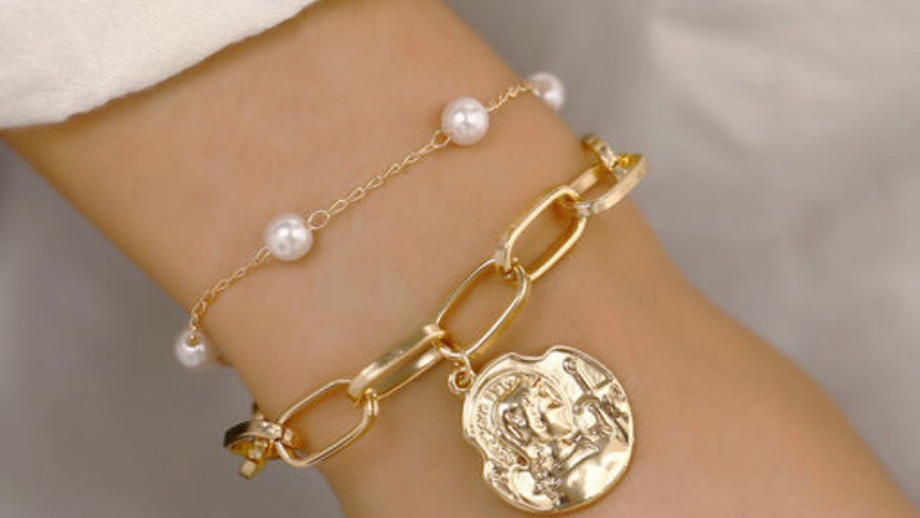 Layered Gold Coin & Minimal Pearl Bracelet