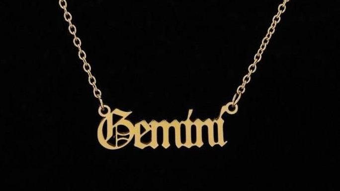 Gemini- Zodiac Letter Minimalistic Pendant Necklace