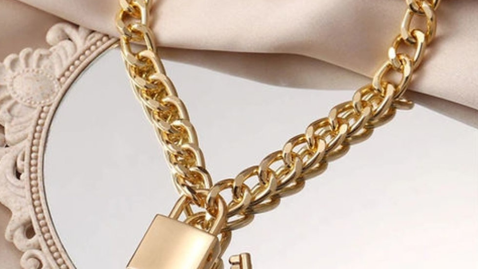 Gold plated Cuban Chain with Lock and Key