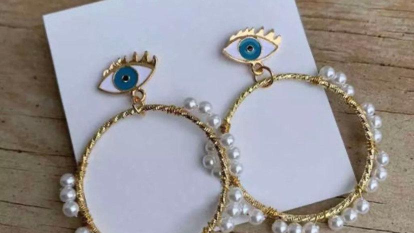 Faux Pearl Layered Evil Eye Hoop Earrings