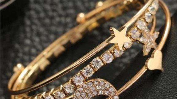 Layered Gold Rhinestone Bracelet Set | 4 Pcs