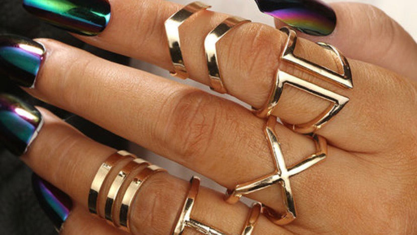 Cross Knuckle Geometric 8 Piece Ring Set | Onesize