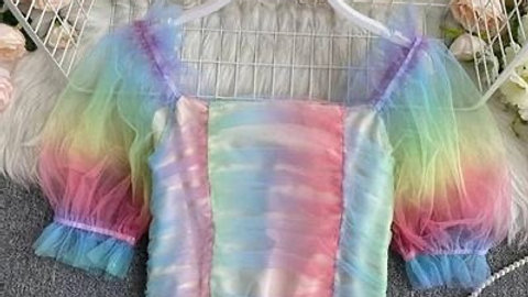 Light Rainbow Mesh Ruched Top