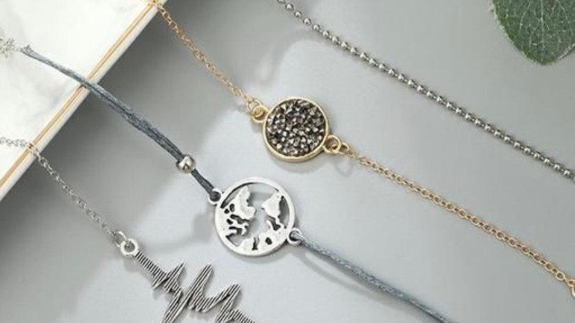 Layered Bracelet Set | 4 Pcs