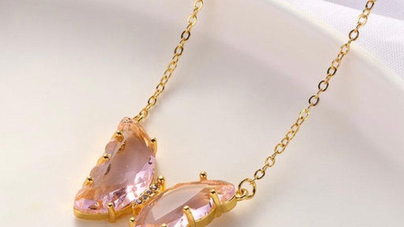 Korean Fairy Wind Glass Crystal Butterfly Transparent Dream Neckpiece