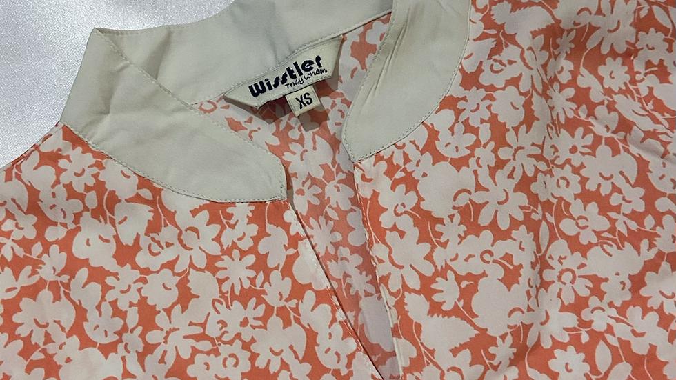 Mandarin Collar Floral Tunic Top | Fit XS-S