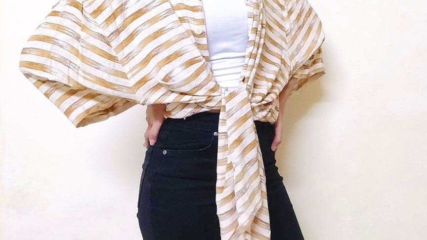 Abstract Stripes Vintage Shirt    Free Size