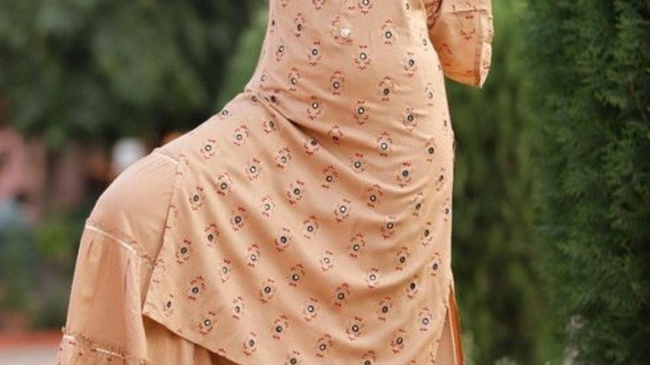 Women's Printed Kurta with Sharara Set