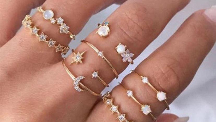 Rhinestone Gold Plated Ring Set | 9 Rings