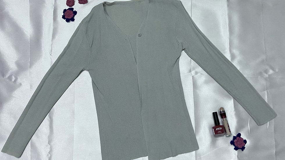 One-button Rib-knit Cardigan