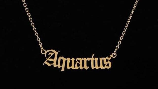 Aquarius- Zodiac Letter Minimalistic Pendant Necklace
