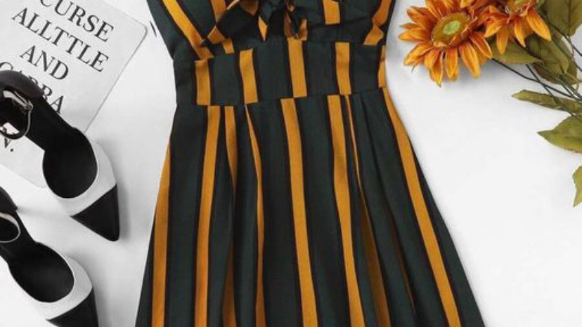 Crepe Striped Casual Dress